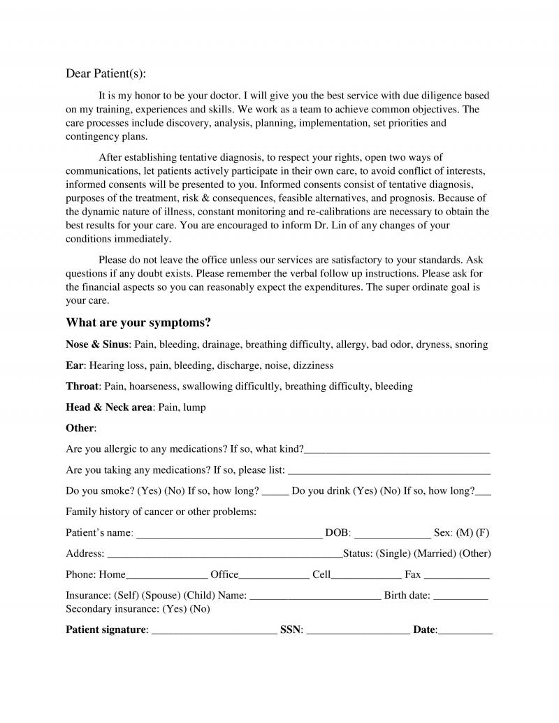 Feel free to print and fill out this form to help speed up waiting time: